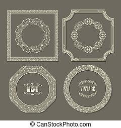 Set of vintage vector frames borders