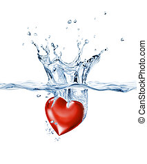 Shining heart, falling into clear water, forming a crown splash.