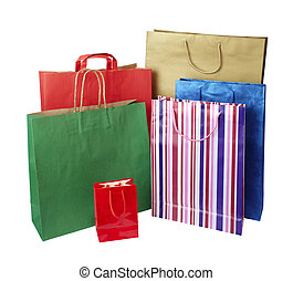 collection of shopping bags on white background with clipping path