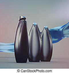 Shower gel or shampoo bottles mockup