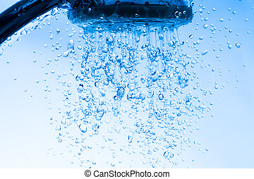 Shower Head with Running Water, Blue background