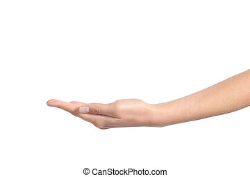 Side view of a woman hand with palm up