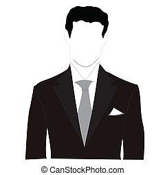 Vector silhouette men in black suit