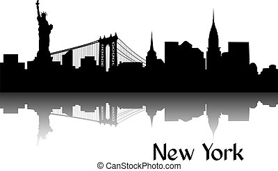 Black silhouette of New York the capital of USA