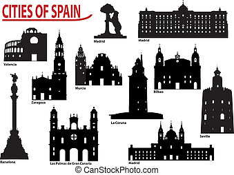 The most famous building in the city of Spain. Set of vector illustrations