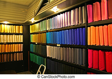 Racks of multicolored silk fabric