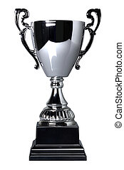 Silver trophy cup on stand isolated on a white background with clipping path. Plain reflection