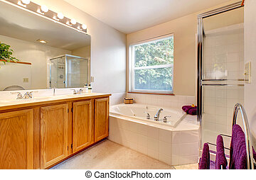 Simple bathroom interior with bath tub and glass door shower