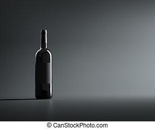 Single red wine bottle mockup.
