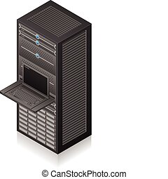 Single Server Rack Isometric 3D Icon (part of the Computer Hardware Icons Set)