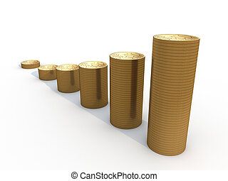 six stacks of euro coins on white background