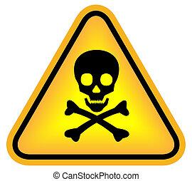 Skull danger sign isolated on white