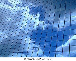 Horizontal image of sky reflection on glass wall building