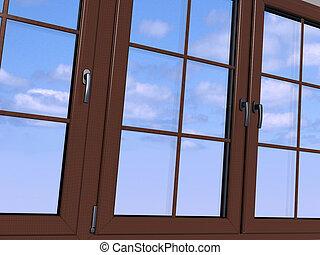 Sky seen through an wooden window