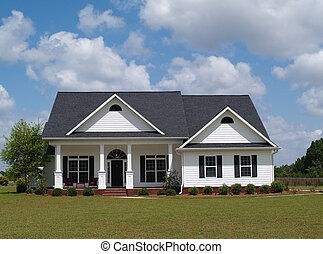 One story small residential home with board siding on the facade.