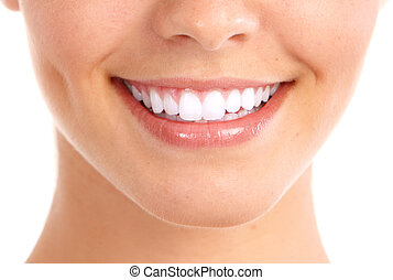 Healthy woman teeth and smile. Isolated over white background.