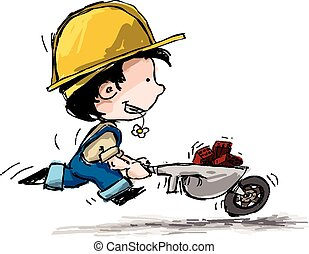 Cartoon illustration of a boy in suspenders and a hard hat running with cart full of bricks.