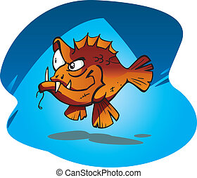 Cartoon vector illustration of the Sneaky Red bass. A large aggressive salt water fish from Australia.