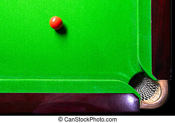 Snooker table top view with snooker balls on green
