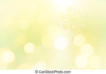 Snowflake on glitter yellow background
