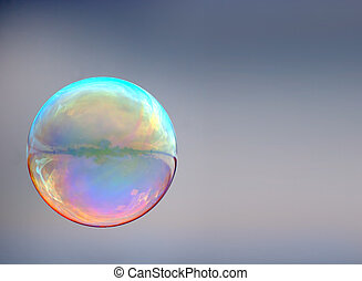 soap bubble on gray background
