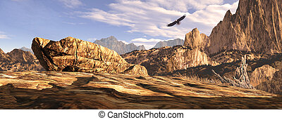 Bald eagle soaring above a Southwest landscape.