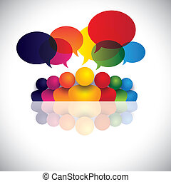 social media communication or office staff meeting or kids talking. The vector graphic also represents people conference, social media interaction & engagement, children talking, employee discussions