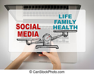 Social Media concept. Business woman working with computer