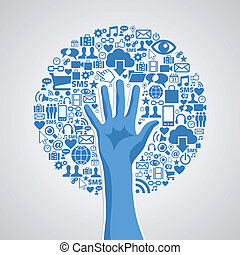 Internet technology concept hand tree icons set. Vector illustration layered for easy manipulation and custom coloring.