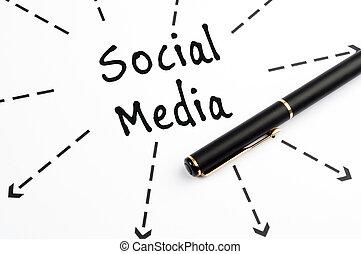 Social Media word wih arrows and pen