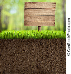 soil cut in garden with wooden sign