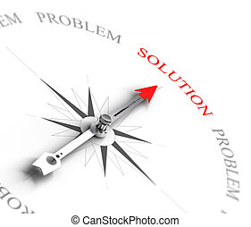 Compass with arrow pointing to the word solution vs problems. 3D render image suitable for business consulting concept, 3D render with depth of field effect