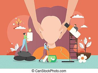 Spa salon. Young woman getting face massage, vector flat illustration