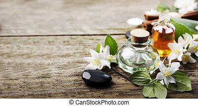 Spa treatment with massage jasmine oil still life