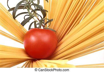 spaghetti, tomato and rosemary