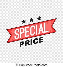 Special price ribbon icon, cartoon style