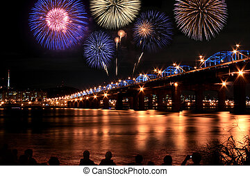 Spectacular fireworks at han River Seoul Korea