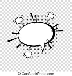 Speech bubble with halftone shadows in cartoon, comic style.
