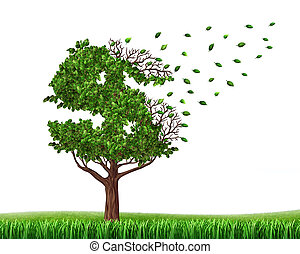 Spending money from savings and losing your investments and managing your debt and financial budget with a green tree in the shape of a dollar sign with leaves falling off as an icon of wealth loss and downgrade
