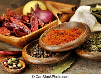 Spices Assortment On A Wooden Board, Close Up