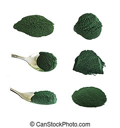 Spirulina Powder, Collection of Food Supplements, Isolated on White.