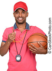 Portrait of a young basketball coach, isolated on a white background
