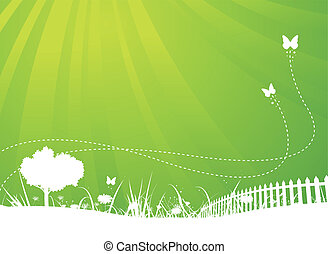 Illustration of an abstract garden bi-colored poster background for your season communication