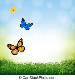 Spring Landscape With Butterfly