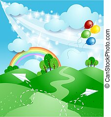 Spring landscape with rainbow, vector