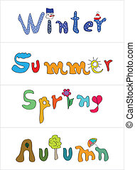 spring, summer, autumn, winter labels with special design