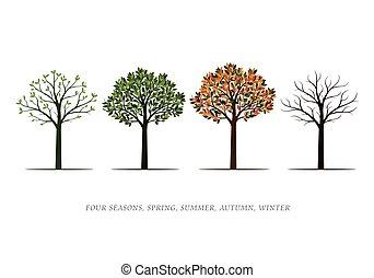 Spring, Summer, Autumn, Winter Trees. Vector Illustration.