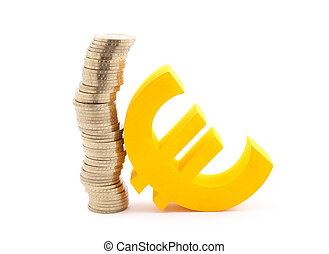 Stack of gold coins and euro symbol