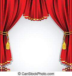 illustration of red stage curtain drape on white background