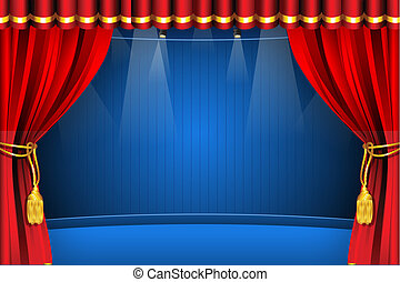 illustration of stage with flash light and curtain